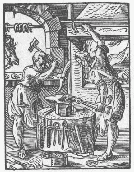 Figure from the book of classes by Jost Amman and Hans Sachs from 1568 that shows two smiths working.