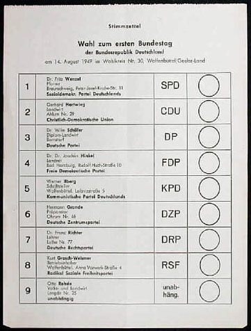 Photo of a ballot for the first federal elections of the FRG 1949