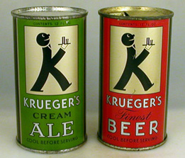 Two beer cans from 1935, Krueger's Cream Ale (green) and Krueger's Finest Beer (red)