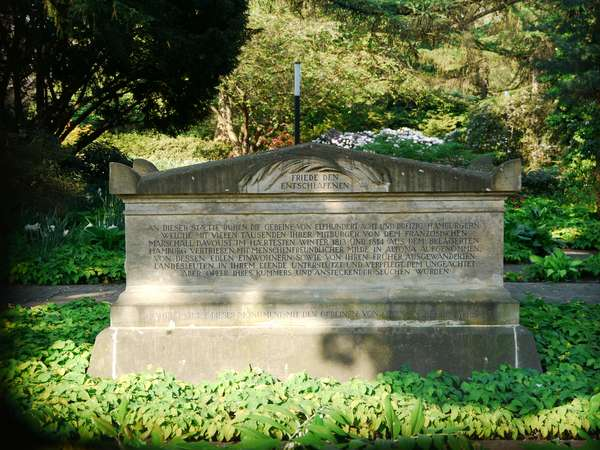 memorial stone for people of Hamburg buried in Ottensen after they were banished from the city under Napoleon's rule.