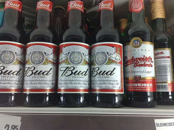 Photo of beer bottles, American Budweiser imprinted Bud and the Czech one imprinted Budweiser Budvar