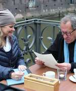 "Andrea Bentschneider and Geoffrey Rush during the shooting of ""Who Do You Thik You Are?"" in Speicherstadt Hamburg"