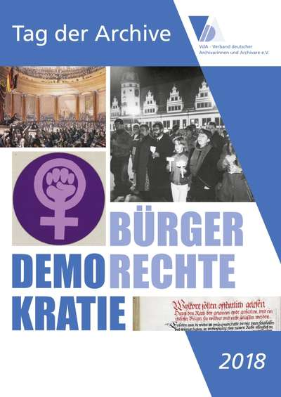 "Poster of the German Archive Day 2018 under the motto ""Democracy and Civil Rights"""