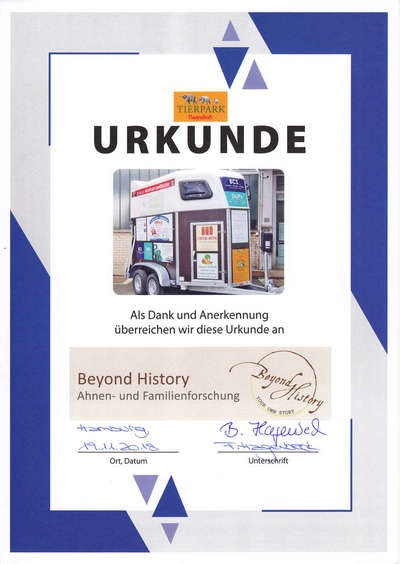 Certificate from the Tierpark Hagenbeck regarding the financial support of the purchase of an animal trailer