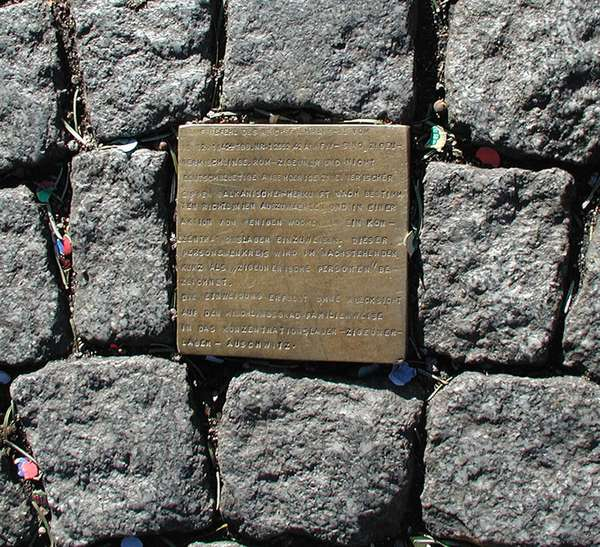 "Photo of the predecessor of today's ""Stolpersteine"" that was installed in front of the historic town hall in Cologne in 1992."