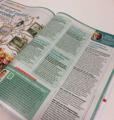 Article on genealogy in the German magazine tina