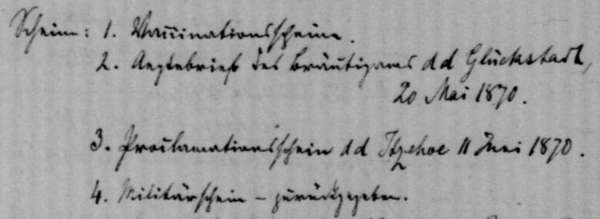 Detail from the register of marriages of the parish Münsterdorf in old handwriting